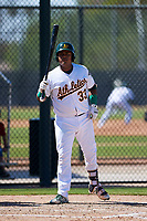 Oakland Athletics catcher Santis Sanchez (33) at bat during an Instructional League game against the Cincinnati Reds on September 29, 2017 at Lew Wolff Training Complex in Mesa, Arizona. (Zachary Lucy/Four Seam Images)