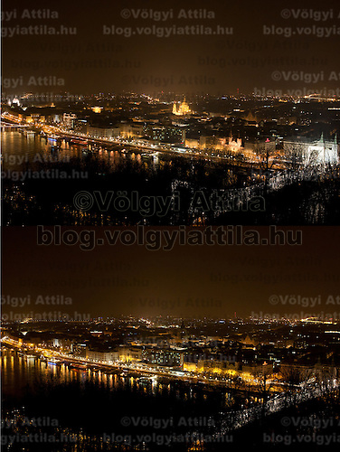 "The combination photo taken on March 26, 2011 shows the general view of Budapest before (Top) and during the ""Earth Hour"" in Budapest, Hungary. The ""Earth Hour"", initiated by the World Wild Fund for Nature (WWF) in 2007, calls on families and buildings to turn off the lights for one hour on the last Saturday night of March."