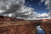 The Colorado River flows through Marble Canyon at Glen Canyon National Recreation Area in Northern Arizona.