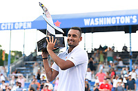 Washington, DC - August 4, 2019: Nick Kyrgios (AUS) holds the trophy up after defeating Daniil Medvedev (RUS) to win the Men's finals of the Citi Open at the Rock Creek Tennis Center, in Washington D.C. (Photo by Philip Peters/Media Images International)