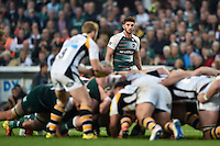Owen Williams of Leicester Tigers watches a scrum. Aviva Premiership match, between Leicester Tigers and Wasps on November 1, 2015 at Welford Road in Leicester, England. Photo by: Patrick Khachfe / Onside Images