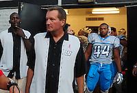 Oct. 8, 2009; Las Vegas, NV, USA; Las Vegas Locomotives head coach Jim Fassel against the California Redwoods during the inaugural United Football League game at Sam Boyd Stadium. Las Vegas defeated California 30-17. Mandatory Credit: Mark J. Rebilas-