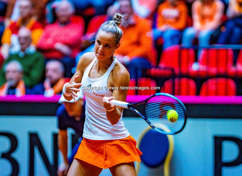Den Bosch, The Netherlands, Februari 10, 2019,  Maaspoort , FedCup  Netherlands - Canada, first match Sunday : Arantxa Rus  (NED)<br /> Photo: Tennisimages/Henk Koster