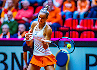 Den Bosch, The Netherlands, Februari 10, 2019,  Maaspoort , FedCup  Netherlands - Canada, first match Sunday : Arantxa Rus  (NED)<br /> Photo: Tennisimages/Henk Koster