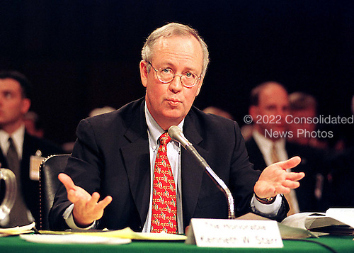Kenneth W. Starr, Whitewater Independent Counsel, testifies before the United States Senate Committee on Governmental Affairs on Capitol Hill in Washington, D.C. on April 14, 1999.  Starr testified against the Independent Counsel Act saying it was seriously flawed, too expensive, and, in his opinion, unconstitutional..Credit: Ron Sachs / CNP