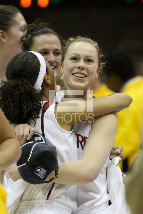 BERKELEY, CA - MARCH 30: Ros Gold-Onwude celebrates with Lindy LaRocque after Stanford's 74-53 win against the Iowa State Cyclones on March 30, 2009 at Haas Pavilion in Berkeley, California.