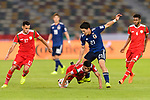 Doan Ritsu of Japan (R) fights for the ball with Mohammed Al Musallami of Oman (2nd R) during the AFC Asian Cup UAE 2019 Group F match between Oman (OMA) and Japan (JPN) at Zayed Sports City Stadium on 13 January 2019 in Abu Dhabi, United Arab Emirates. Photo by Marcio Rodrigo Machado / Power Sport Images