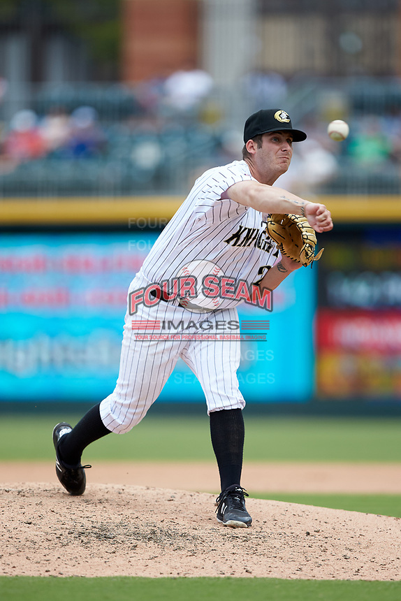 Charlotte Knights relief pitcher Tyler Danish (26) delivers a pitch to the plate against the Indianapolis Indians at BB&T BallPark on August 22, 2018 in Charlotte, North Carolina.  The Indians defeated the Knights 6-4 in 11 innings.  (Brian Westerholt/Four Seam Images)