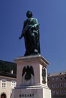 Mozart, Austria, Salzburg, Statue of Mozart in Mozartplatz in the city of Salzburg.