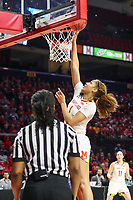 College Park, MD - March 25, 2019: Maryland Terrapins forward Shakira Austin (1) makes a layup during game between UCLA and Maryland at  Xfinity Center in College Park, MD.  (Photo by Elliott Brown/Media Images International)