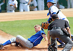 SIOUX FALLS, SD - MAY 23:  Scott Splett #7 from South Dakota State tries to slide past Steve Lowden #21 from IPFW in the first inning of their game Friday at the Summit League Baseball Championship at the Sioux Falls Stadium. (Photo by Dave Eggen/Inertia)
