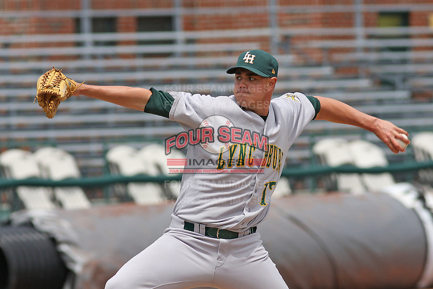 Jeremy Horst  #17 of the Lynchburg Hillcats pitching during a game against the Kinston Indians at Granger Stadium on April 28, 2010 in Kinston, NC. Photo by Robert Gurganus/Four Seam Images.
