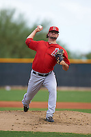 Los Angeles Angels pitcher Garrett Nuss (44) during an instructional league game against the Texas Rangers on October 5, 2015 at the Surprise Stadium Training Complex in Surprise, Arizona.  (Mike Janes/Four Seam Images)