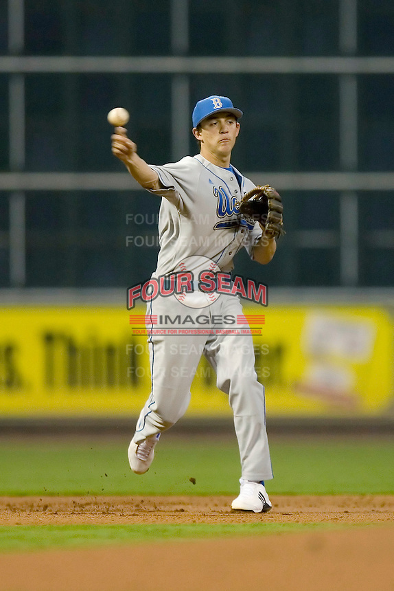 Shortstop Niko Gallego #2 of the UCLA Bruins on defense versus the Rice Owls in the 2009 Houston College Classic at Minute Maid Park February 27, 2009 in Houston, TX.  The Owls defeated the Bruins 5-4 in 10 innings. (Photo by Brian Westerholt / Four Seam Images)