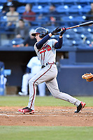 Rome Braves center fielder Drew Waters (5) swings at a pitch during a game against the Asheville Tourists at McCormick Field on April 17, 2018 in Asheville, North Carolina. The Tourists defeated the Braves 1-0. (Tony Farlow/Four Seam Images)