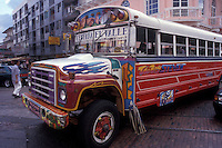 Brightly painted public bus or Diablo Rojo in Panama City, Panama. These recycled American school buses are still the main form of public transportation in Panama City...