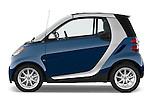 Passenger side profile view of a 2009 SmartForTwo Cabriolet.