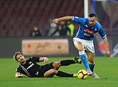 2nd February 2019, Stadio San Paolo, Naples, Italy; Serie A football, Napoli versus Sampdoria; Gaston Ramirez of Sampdoria tackles Nikola Maksimovic of Napoli