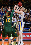 BROOKINGS, SD - JANUARY 31:  Mariah Clarin #40 from South Dakota State University spots up for a jumper over Holly Johnson #12 from North Dakota State University in the first half of their game Saturday afternoon at Frost Arena in Brookings. (Photo by Dave Eggen/Inertia)