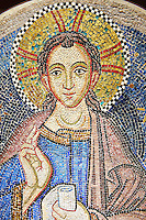 "14th Century Mosaic of Jesus Christ Emmanuel, meaning ""God is with us"" a symbolic name which appears in chapters 7 and 8 of the Book of Isaiah,   from the Zen Chapel  of the  Basilica San Marco ( St Mark's Basilica ) Venice, Italy"
