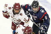 The Boston College Eagles defeated the visiting UConn Huskies 4-0 on Friday, October 30, 2015, at Kelley Rink in Conte Forum in Chestnut Hill, Massachusetts.
