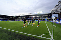 Liverpool, UK. Saturday 01 November 2014<br /> Pictured: Swansea players warm up before kick off<br /> Re: Premier League Everton v Swansea City FC at Goodison Park, Liverpool, Merseyside, UK.