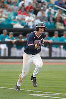 University of Virginia Cavaliers first baseman Pavin Smith (10) at bat during a game against the University of Coastal Carolina Chanticleers at Springs Brooks Stadium on February 21, 2016 in Conway, South Carolina. Coastal Carolina defeated Virginia 5-4. (Robert Gurganus/Four Seam Images)