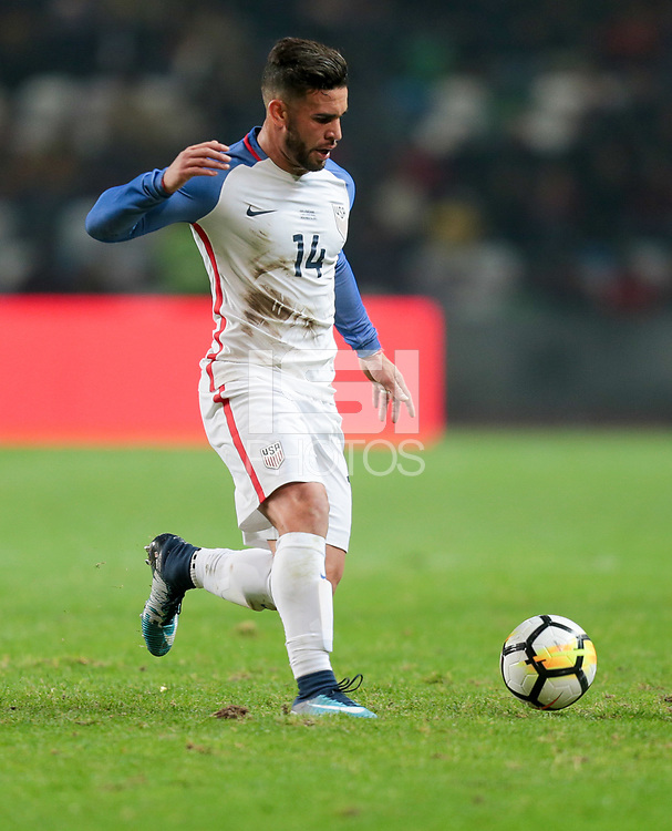 Leiria, Portugal - Tuesday November 14, 2017: Dom Dwyer during an International friendly match between the United States (USA) and Portugal (POR) at Estádio Dr. Magalhães Pessoa.