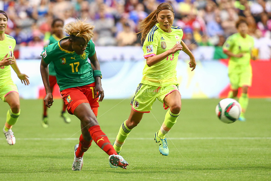 June 12, 2015: Gaelle ENGANAMOUIT of Cameroon kicks the ball during a Group C match at the FIFA Women's World Cup Canada 2015 between Cameroon and Japan at BC Place Stadium on 12 June 2015 in Vancouver, Canada. Japan won 2-1. Sydney Low/AsteriskImages