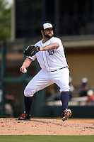 Detroit Tigers pitcher Joba Chamberlain (44) during a Spring Training game against the Miami Marlins on March 25, 2015 at Joker Marchant Stadium in Lakeland, Florida.  Detroit defeated Miami 8-4.  (Mike Janes/Four Seam Images)