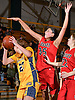Rachel Mahler #35 of Syosset, center, defends against Gabriella Heimbauer #23 of Massapequa during the Nassau County varsity girls basketball Class AA semifinals at LIU Post on Saturday, Feb. 25, 2017. Massapequa won by a score of 48-44.