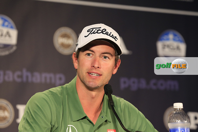 Adam Scott (AUS) in the interview room during Tuesday's Practice Day of the 95th US PGA Championship 2013 held at Oak Hills Country Club, Rochester, New York.<br /> 6th August 2013.<br /> Picture: Eoin Clarke www.golffile.ie