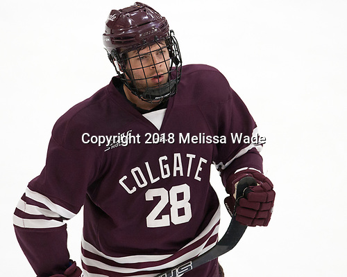 Hunter Racine (Colgate - 28) - The visiting Colgate University Raiders shut out the Harvard University Crimson for a 2-0 win on Saturday, January 27, 2018, at Bright-Landry Hockey Center in Boston, Massachusetts.