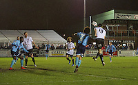 Sean Francis of Bromley scores the opening goal during the Vanarama National League match between Bromley and Grimsby Town at Hayes Lane, Bromley, England on 9 February 2016. Photo by Alan  Stanford.