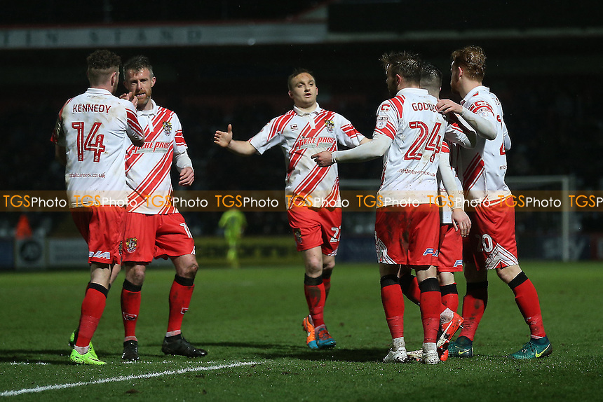 Tom Pett of Stevenage scores the second goal for his team and celebrates during Stevenage vs Leyton Orient, Sky Bet EFL League 2 Football at the Lamex Stadium on 28th February 2017