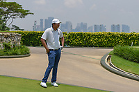 KK LIMBHASUT (THA) looks down 4 with the cityscape on the mainland in background during Rd 2 of the Asia-Pacific Amateur Championship, Sentosa Golf Club, Singapore. 10/5/2018.<br /> Picture: Golffile | Ken Murray<br /> <br /> <br /> All photo usage must carry mandatory copyright credit (© Golffile | Ken Murray)