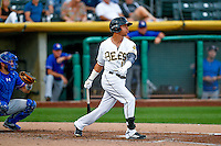Quintin Berry (19) of the Salt Lake Bees at bat against the Round Rock Express in Pacific Coast League action at Smith's Ballpark on August 13, 2016 in Salt Lake City, Utah. Round Rock defeated Salt Lake 7-3.  (Stephen Smith/Four Seam Images)