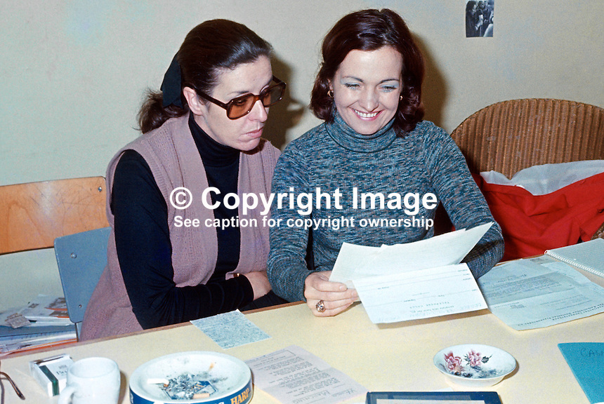 People People founders, Betty Williams (left) and Mairead Corrigan, in their new office at Upper Crescent, Belfast, N Ireland, 30th September 1976, 197609300419a.<br />