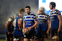 Rhys Priestland of Bath Rugby looks on during a break in play. Premiership Rugby Cup match, between Bath Rugby and Gloucester Rugby on February 3, 2019 at the Recreation Ground in Bath, England. Photo by: Patrick Khachfe / Onside Images
