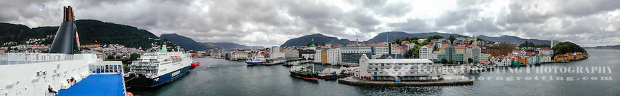 Norway, Bergen. City center, stitched panorama. Seen from the Bergen-Iceland ferry Norrøna.