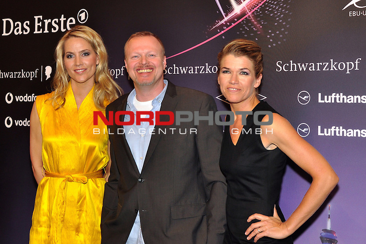 09.05.2011, ESPRIT Arena, Duesseldorf, GER, Eurovision Song Contest 2011, Press Conference, im Bild Judith Rakers, Stefan Raab and Anke Engelke during the press coference of the presenters of the Eurovision Song Contest 2011 at ESPRIT Arena, Duesseldorf <br />  . Foto &copy; nph / Images *** Local Caption ***