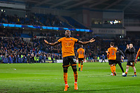 Benik Afobe of Wolverhampton Wanderers celebrates at full time of the Sky Bet Championship match between Cardiff City and Wolverhampton Wanderers at the Cardiff City Stadium, Cardiff, Wales on 6 April 2018. Photo by Mark  Hawkins / PRiME Media Images.
