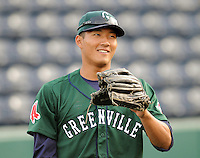 April 2, 2008: Outfielder Che-Hsuan Lin (24) of the Greenville Drive, Class A affiliate of the Boston Red Sox, during Media Day at Fluor Field at the West End in Greenville, S.C. Photo by:  Tom Priddy/Four Seam Images