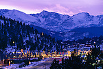 Winter Lights of Estes Park, Rocky Mountains, December, Estes Park, Colorado, USA