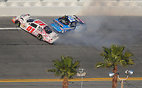 Feb 7, 2009; Daytona Beach, FL, USA; ARCA RE/MAX Series driver Michael Annett (01) crashes with Alli Owens (19) during the Lucas Oil Slick Mist 200 at Daytona International Speedway. Mandatory Credit: Mark J. Rebilas-