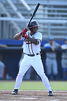 Willie Carter (15) of the Danville Braves at bat against the Bluefield Blue Jays at American Legion Post 325 Field on July 28, 2019 in Danville, Virginia. The Blue Jays defeated the Braves 9-7. (Tracy Proffitt/Four Seam Images)