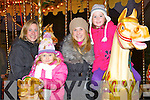 Marie Whyte, Leah Griffin, Fiona Griffin and Anna Whyte Killarney preparing to take a ride on the Carousel at the Christmas in Killarney winter wonderland at the Old Milk Market Lane on Sunday..