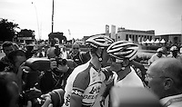 Lars Bak (DNK) congratulates André Greipel (DEU) after the finish<br /> <br /> 1st Brussels Cycling Classic<br /> Brussels - Brussels: 197km