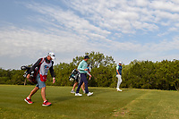 Hudson Swafford (USA) and Brandt Snedeker (USA) make their way down 15 during Round 1 of the Valero Texas Open, AT&amp;T Oaks Course, TPC San Antonio, San Antonio, Texas, USA. 4/19/2018.<br /> Picture: Golffile | Ken Murray<br /> <br /> <br /> All photo usage must carry mandatory copyright credit (&copy; Golffile | Ken Murray)