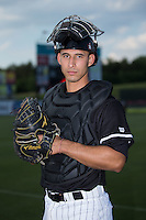Kannapolis Intimidators catcher Seby Zavala (21) poses for a photo prior to the game against the Lakewood BlueClaws at Kannapolis Intimidators Stadium on May 10, 2016 in Kannapolis, North Carolina.  The BlueClaws defeated the Intimidators 5-3.  (Brian Westerholt/Four Seam Images)